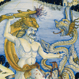 "Detail, lustred maiolica bowl, ""Hercules and the Hydra"", Ashmolean Museum, Oxford"