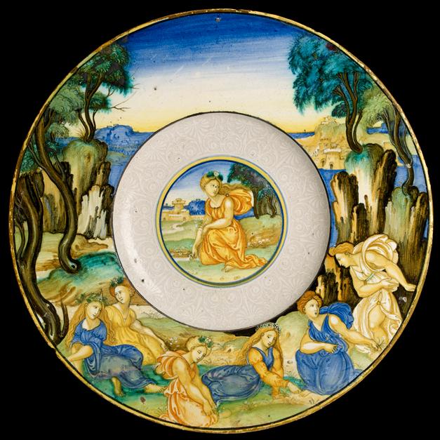 """Image of maiolica plate, """"Women Gathering Flowers"""", Nicola da Urbino, c. 1525"""